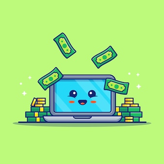 Cute laptop and money cartoon illustration. business and finance  concept  . flat cartoon style