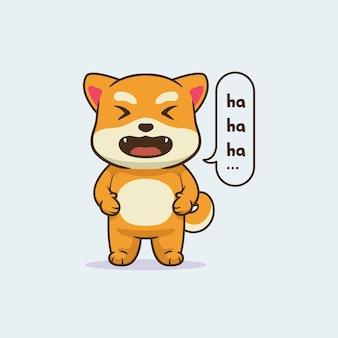 귀여운 웃는 시바 개 디자인