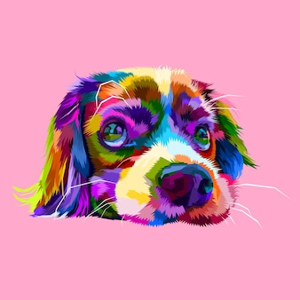 Cute lazy dog heads in geometric pop art styles