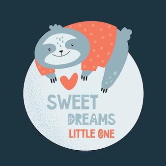 かわいい怠惰なナマケモノは月にリラックス