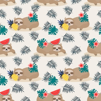 Cute lazy sloth and summer fruit seamless pattern.