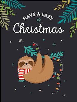 かわいい怠惰なナマケモノ、サンタクロースの衣装、帽子とスカーフ、グリーティングカードセット、バナーと面白いメリークリスマスのイラスト