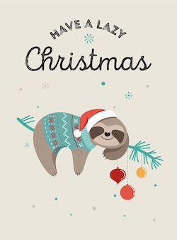 Cute lazy sloths, funny merry christmas illustrations with santa claus costumes, hat and scarfs, greeting cards set, banner