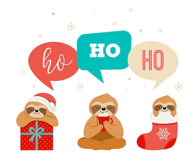 Cute lazy sloths, funny merry christmas s with santa claus costumes, hat and scarfs, greeting cards set, banner