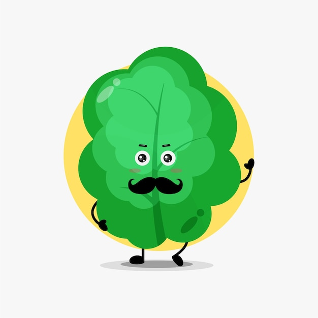 Cute leaf character with mustache