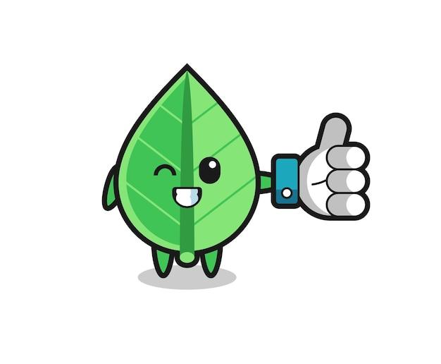 Симпатичный лист с символом больших пальцев в социальных сетях, милый стильный дизайн для футболки, стикер, элемент логотипа