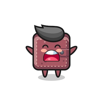 Cute leather wallet mascot with a yawn expression , cute style design for t shirt, sticker, logo element