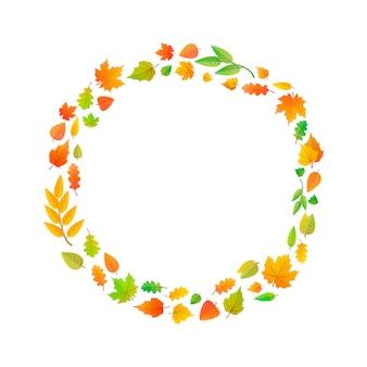 Cute leaves arranged in ring shape