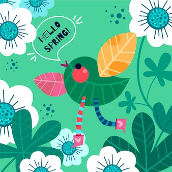 Cute leaves bird flat spring background