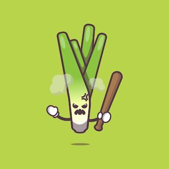 Милый лук-порей сердится карикатура иллюстрации овощной мультфильм векторные иллюстрации