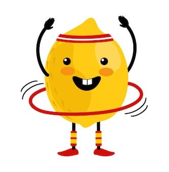 Милый лимон мультипликационный персонаж делает упражнения с обручем хула. здоровое питание. отдельные иллюстрации на белом фоне. концепция здорового, спортивного образа жизни