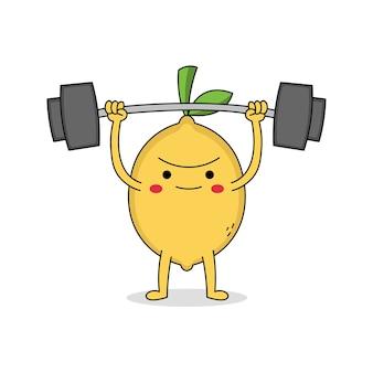 かわいいレモン漫画のキャラクターの重量挙げ