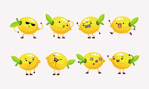 異なるポーズと表情のかわいいレモンキャラクターマスコットイラスト