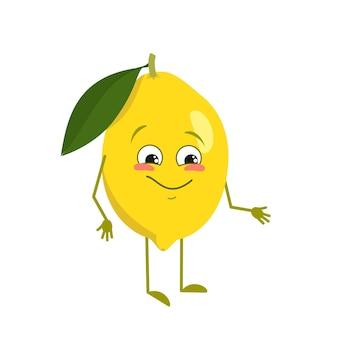 Симпатичный лимонный персонаж с радостью, эмоциями, улыбающимся лицом, счастливыми глазами, руками