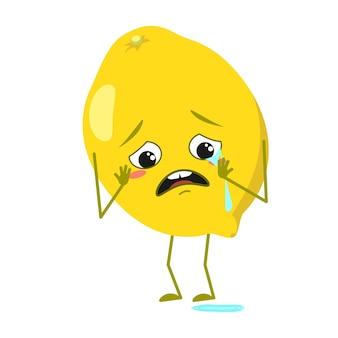 泣いて涙の感情を持つかわいいレモンのキャラクターは腕と脚に直面します