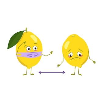 Симпатичные лимонные персонажи с эмоциями, лицом и маской держат дистанцию, руки и ноги. весеннее или летнее украшение. веселый или грустный цитрусовый герой, желтые фрукты. векторная иллюстрация плоский