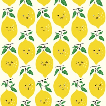 Cute lemon emoticon seamless pattern