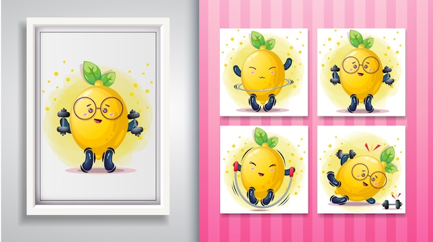 Cute lemon illustration set and decorative frame.