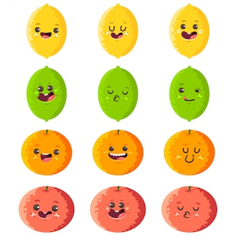 Cute lemon, lime, orange and grapefruit vector cartoon characters set isolated.