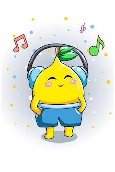 Симпатичный лимон прослушивания музыки дизайн иллюстрации шаржа