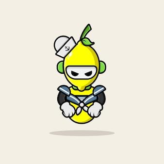 かわいいレモンマリンキャラクターデザイン