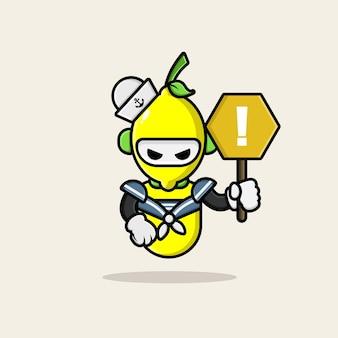 Cute lemon marine character design