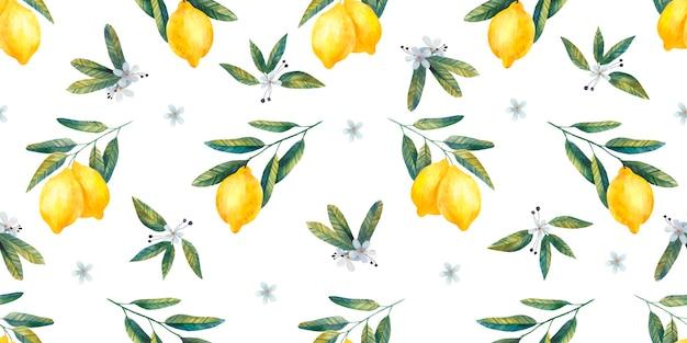 レモンと花のジューシーな明るい枝とかわいいレモンシームレスパターン