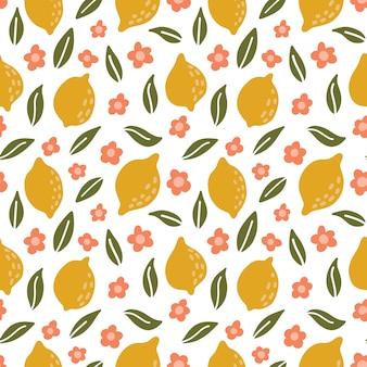 かわいいレモン。ベクターの手描きのシームレスパターン