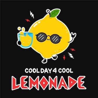 Cute lemon with lemonade glass in sunglasses