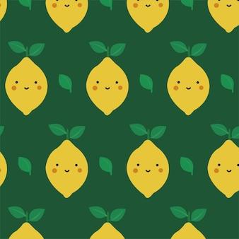 감귤류 과일과 함께 귀여운 레몬 원활한 패턴