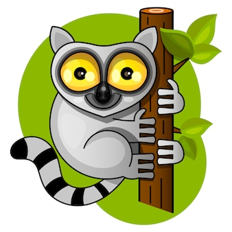 Cute lemur on the branch vector illustration