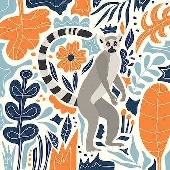 Милый лемур в тропических джунглях. цветы и листья. скандинавский стиль