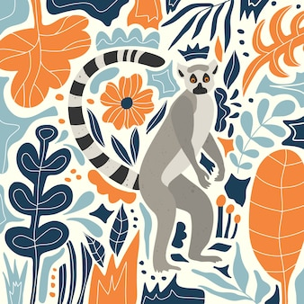 Cute lemur in the tropical jungle.  flowers and leaves. scandinavian style