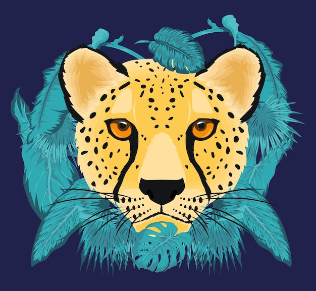 Cute leopard cartoon face with leaves