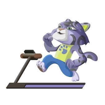 귀여운 표범은 러닝 머신에서 스포츠와 베진에 들어갑니다. 만화 캐릭터 벡터 일러스트 레이 션 흰색 배경에 고립입니다.
