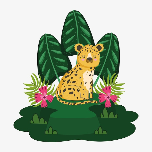 Cute leopard on the grass