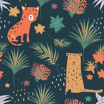 かわいいヒョウのジャングルのシームレスなパターン子供のための手描きのベクトル図