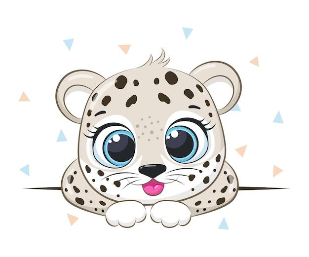 かわいいヒョウの笑顔。漫画のベクトルイラスト。