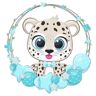 Cute leopard with balloons and a wreath. vector illustration of a cartoon.