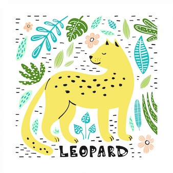 Cute leopard with hand drawn illustration