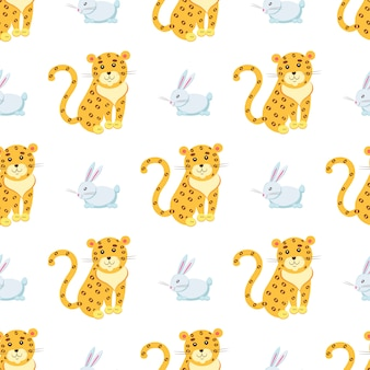 Cute leopards and rabbit seamless pattern
