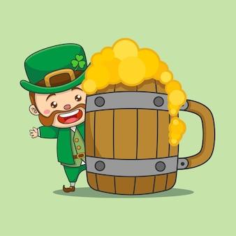 큰 맥주 컵 뒤에 귀여운 레프 러콘 요정