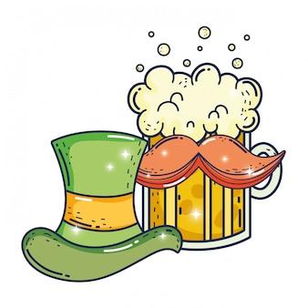 Cute leprechaun hat with beer