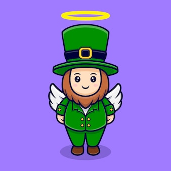 Cute leprechaun have wing cartoon character saint patrick's  day
