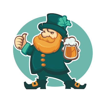 Cute leprechaun illustration with draft beer for your st. patrick's day