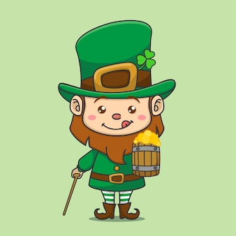 Cute leprechaun with stick and beer