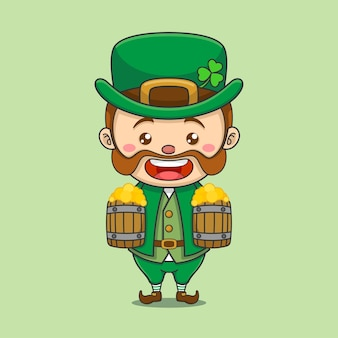 Cute leprechaun with two beers