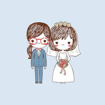 Cute lesbian bride and groom portrait in flat style