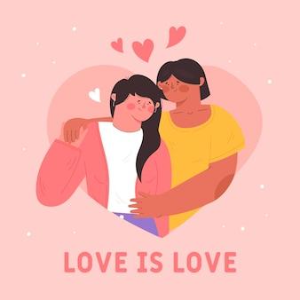 Милые лесбиянки пара иллюстрировано