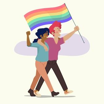 Coppia lesbica carina con bandiera lgbt